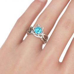 Twist Aquamarine Round Cut Flower Sterling Silver Ring Set