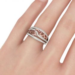 Two Tone Heartbeat Sterling Silver Women's Band