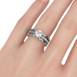Milgrain Round Cut Interchangeable Sterling Silver Ring Set