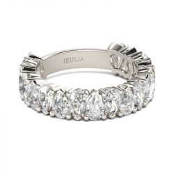 Classic Pear Cut Sterling Silver Women's Band
