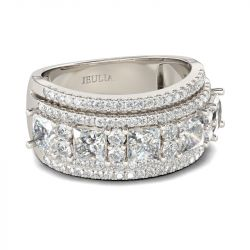 Wide Princess Cut Sterling Silver Women's Band