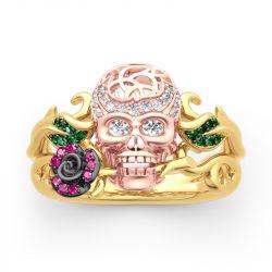 """Forever Romance"" Skull and Rose Sterling Silver Ring"