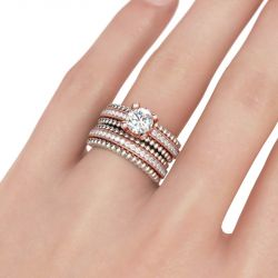 Milgrain Two Tone Round Cut Sterling Silver Ring Set