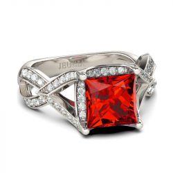Twist Halo Princess Cut Sterling Silver Ring