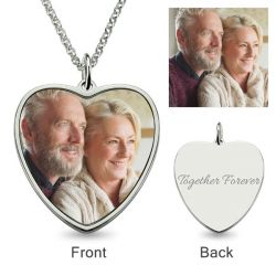 Heart Personalized Color Photo Necklace Sterling Silver