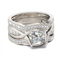 Twist Princess Cut Sterling Silver Ring Set