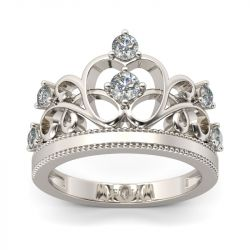 Crown Round Cut Sterling Silver Ring