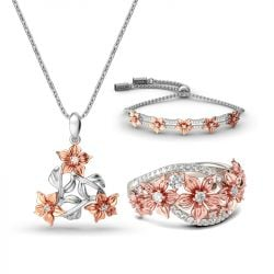 Two Tone Flower Sterling Silver Jewelry Set