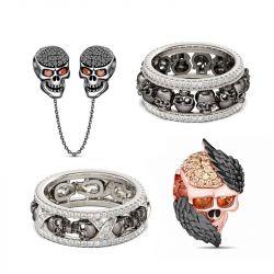 Jeulia Black Skull Sterling Silver Jewelry Set