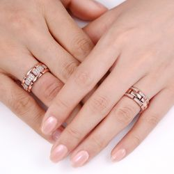 Art Deco Round Cut Sterling Silver Band Set