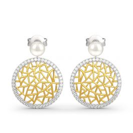 Modern Filigree Cultured Pearl Sterling Silver Earrings