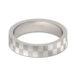 Frosted Checkered Stainless Steel Men's Band