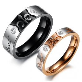 Two Tone Engraved Titanium Steel Couple Rings