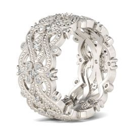 Beaded Infinity Sterling Silver Women's Band