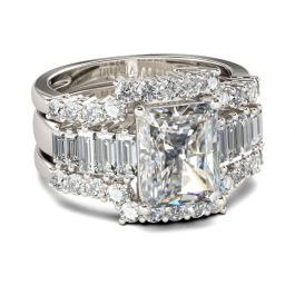 3PC Radiant Cut Sterling Silver Ring Set