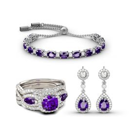 Sincere Love Amethyst Sterling Silver Jewelry Set