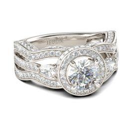 Halo Split Shank Sterling Silver Ring