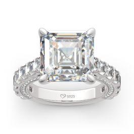 Classic Asscher Cut Sterling Silver Ring