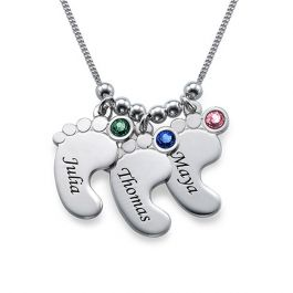 Baby Feet Engraved Necklace With Birthstones Sterling Silver