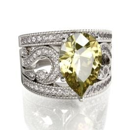 3PC Pear Cut Sterling Silver Ring Set