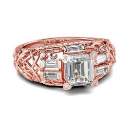 Vintage Filigree Asscher Cut Sterling Silver Ring