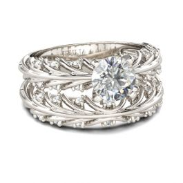 Fancy Round Cut Sterling Silver Ring Set