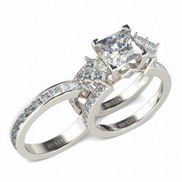Unique Princess Cut Sterling Silver Interchangeable Ring Set