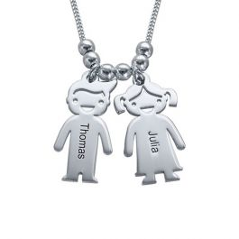 Kids Charms Engraved Necklace Sterling Silver