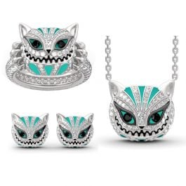 """""""Grinning Like a Cheshire Cat"""" Sterling Silver Enamel Jewelry Set"""