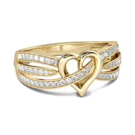 Gold Tone Heart Design Round Cut Sterling Silver Women's Band