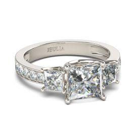 Simple Three Stone Princess Cut Sterling Silver Ring