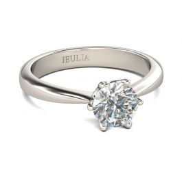 Solitaire Round Cut Sterling Silver Ring