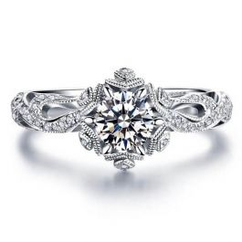 Snowflake Design Round Cut Sterling Silver Ring
