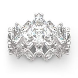Flower Marquise Cut Sterling Silver Ring
