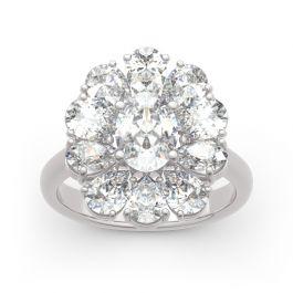 Flower Shape Oval Cut Sterling Silver Ring