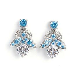 Butterfly Round Cut Sterling Silver Earrings