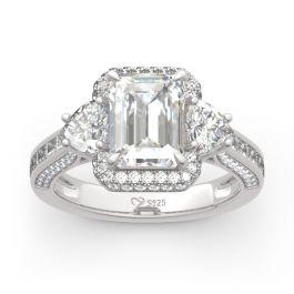 Halo Three Stone Emerald Cut Sterling Silver Ring