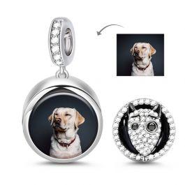 """Frankenweenie"" Bull Terrier Dog Photo Charm Sterling Silver"