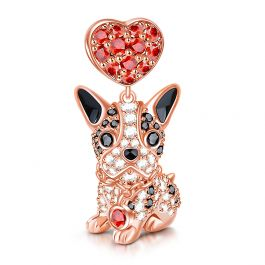 """Love My Bulldog"" Dog Sterling Silver Dangle Charm"