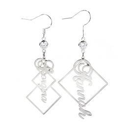 Asymmetrical Personalized Sterling Silver Earrings