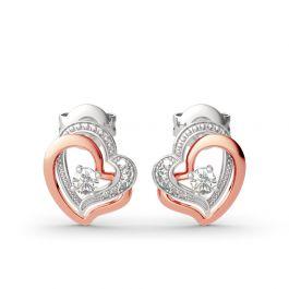 Jeulia Double Heart Sterling Silver Stud Earrings