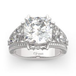 Four-leaf Clover Design Cushion Cut Sterling Silver Ring