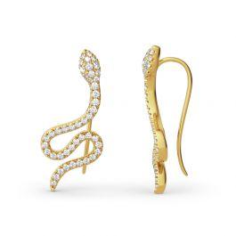 Snake Design Sterling Silver Climber Earrings