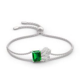 Leaf Design Emerald Cut Sterling Silver Bracelet