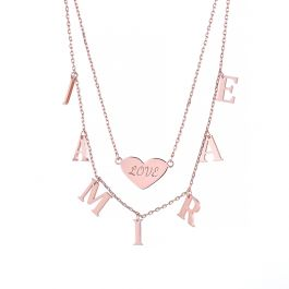 Jeulia Double Layer Heart Name Personalized Sterling Silver Necklace
