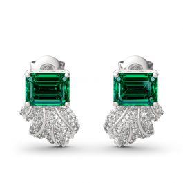 Jeulia Leaf Design Emerald Cut Sterling Silver Earrings