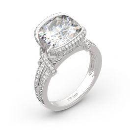 Jeulia Cross Design Cushion Cut Sterling Silver Ring