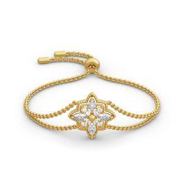 Jeulia Milgrain Floral Sterling Silver Bracelet