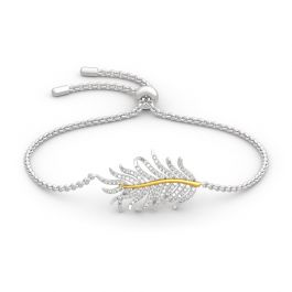 Jeulia Two Tone Feather Sterling Silver Bracelet