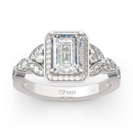 Jeulia Leaf Design Emerald Cut Sterling Silver Ring